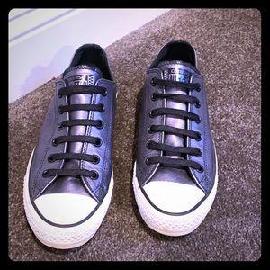 Size 6.5 (men's sizing) black metallic converse